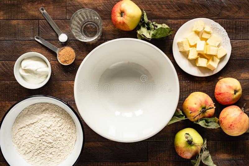 Ingredients for baking apple pie stock image
