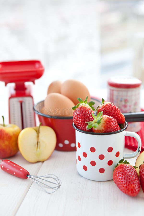 Ingredients for baking with fruits stock images