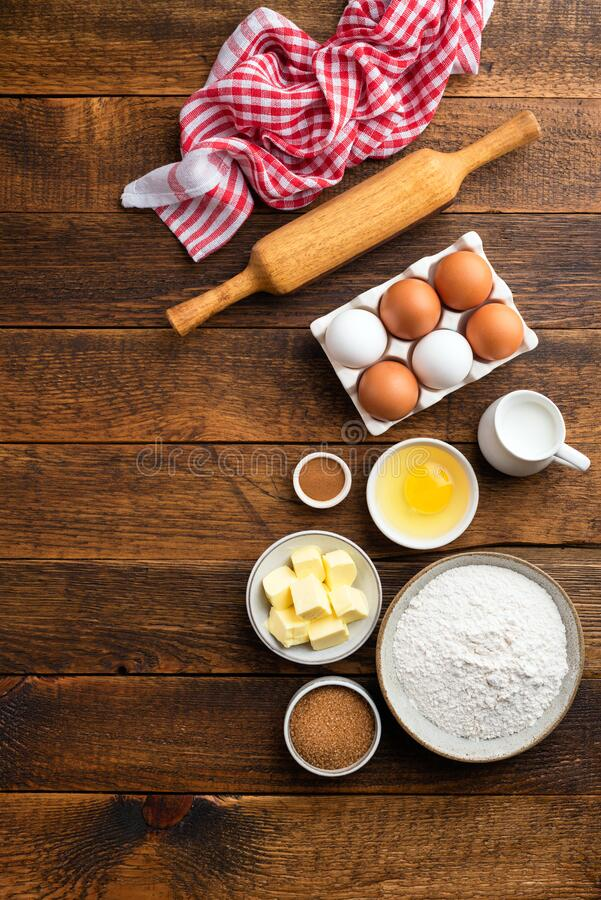 Ingredients for baking pastry, cake, cookies or bread royalty free stock images