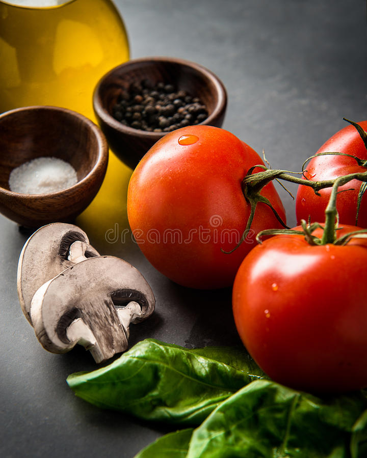 Ingredients for a basic tomato sauce stock photos