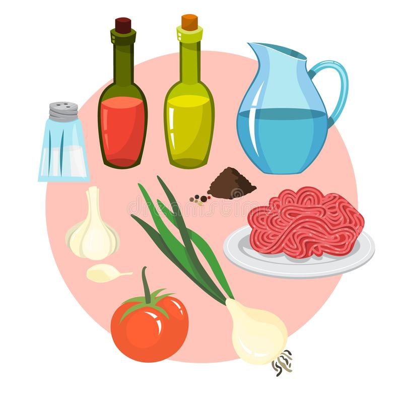 Ingredients for bolognese sauce cooking at home. Sauce for spaghetti, delicious homemade dinner. Isolated vector illustration in cartoon style royalty free illustration