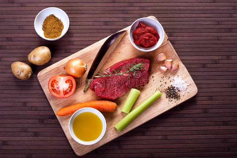 Ingredients for braised veal. Ingredients for cooking braised veal. Stock image royalty free stock photography