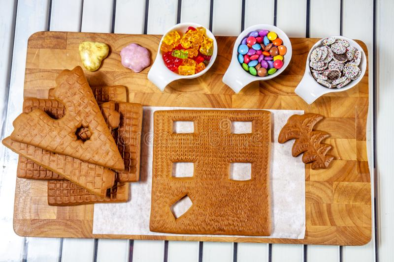 Ingredients for building a ginger bread house stock images