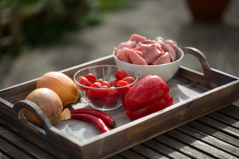 Ingredients for calf goulash, raw meat royalty free stock image
