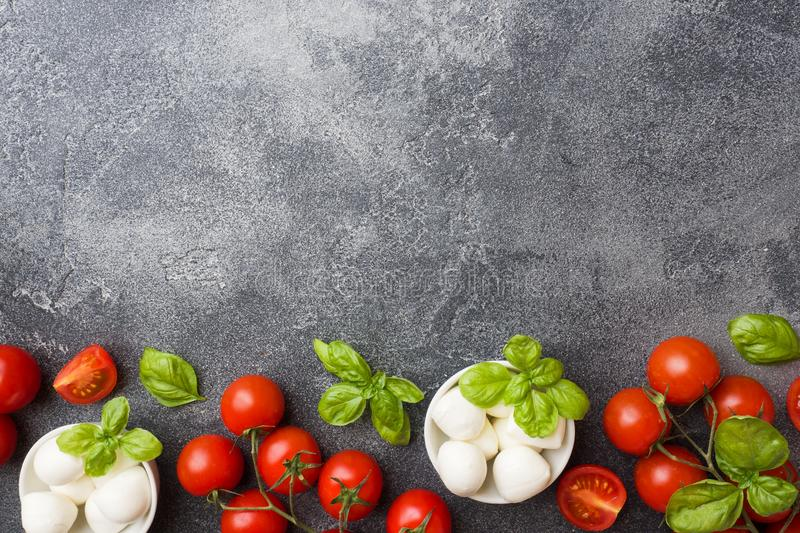 The ingredients for a Caprese salad. Basil, mozzarella balls and tomatoes on a dark concrete background with copy space royalty free stock image