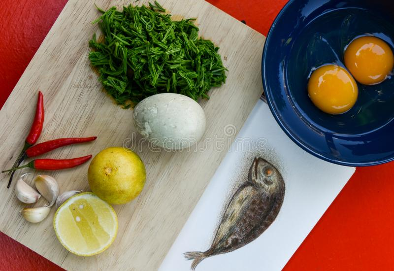 Ingredients for chili sauce, Thai food spicy menu. stock photos