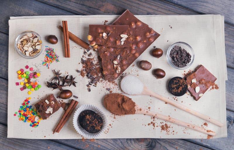Ingredients for chocolate dessert preparation stock image