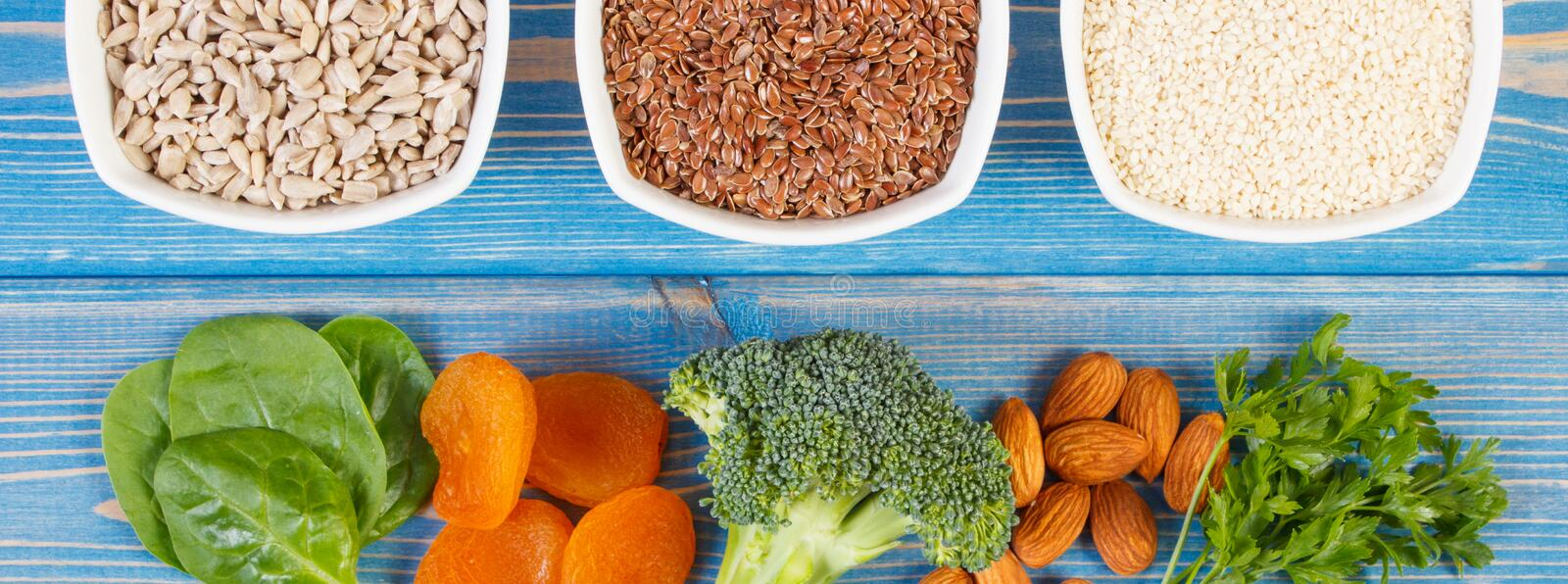 Ingredients containing calcium and dietary fiber, concept of healthy nutrition. Ingredients or products containing calcium and dietary fiber, natural sources of stock photo