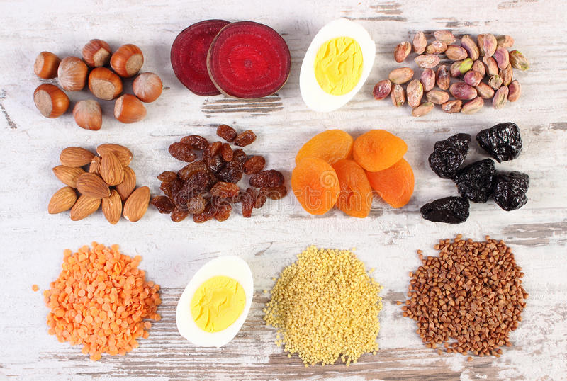 Ingredients containing iron and dietary fiber, healthy nutrition. Ingredients containing iron and dietary fiber, natural sources of ferrum, healthy lifestyle royalty free stock photography