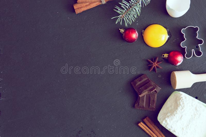 Ingredients for cooking Christmas baking. Top view, copy space royalty free stock images