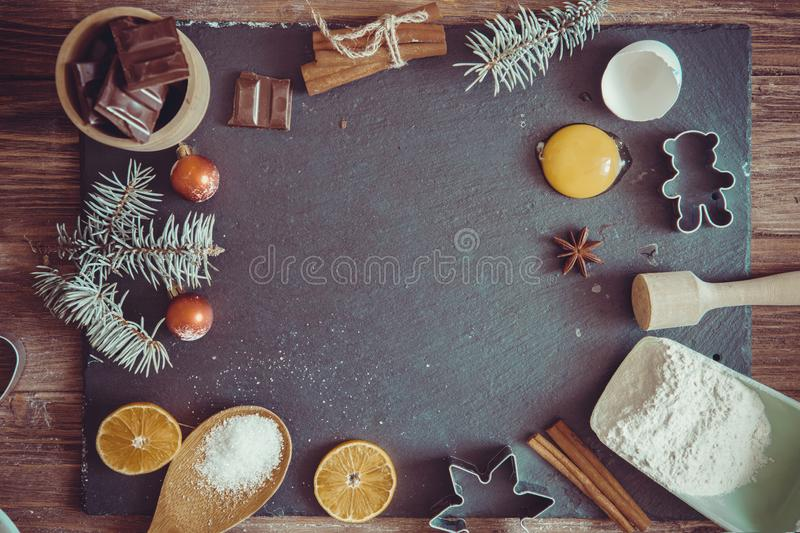 Ingredients for cooking Christmas baking. Top view, copy space royalty free stock photos