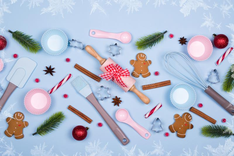 Ingredients for cooking christmas cookies, kitchen utensils, gingerbread cookies stock photo