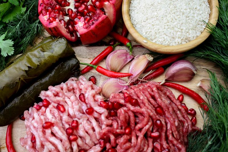 Ingredients for cooking dolma or sarma. fresh meat, vegetables and spices. Close-up stock photo