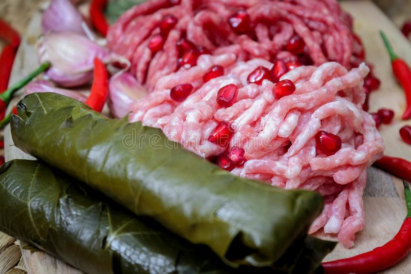 Ingredients for cooking dolma or sarma. fresh meat, vegetables and spices. Close-up stock photos