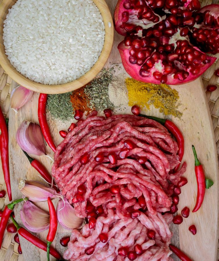 Ingredients for cooking dolma or sarma. fresh meat, vegetables and spices. Close-up royalty free stock photos