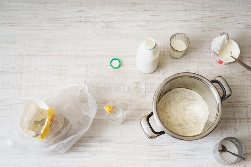 Download Ingredients For Cooking Dough Pizza On The Table Stock Photo - Image: 83712112