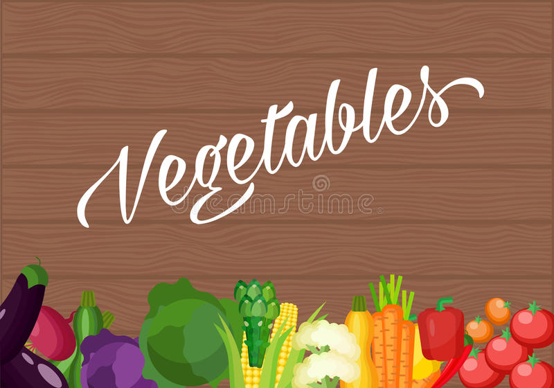 Ingredients for cooking on an old wooden table. Vegetarian flat design. Healthy food of different vegetables stock illustration