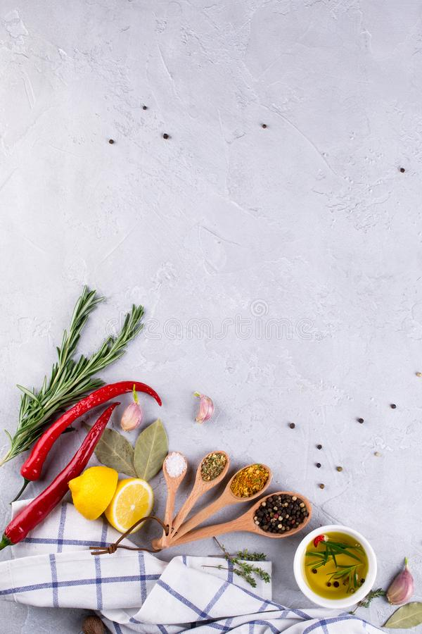 Ingredients for cooking. Selection of spices and herbs Food background on gray table. stock images