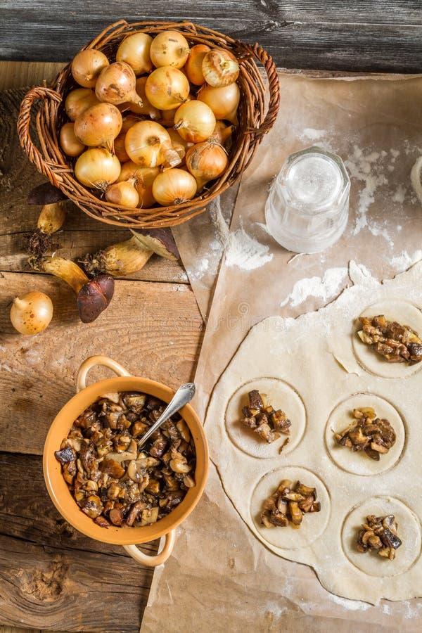 Ingredients for dumplings with mushrooms stock photos