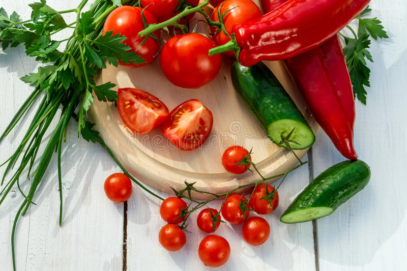 Ingredients for a fresh garden salad stock image
