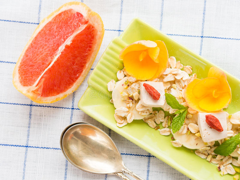 Download Ingredients For Grapefruit Smoothie With Banana, Oats And Tofu Stock Photo - Image: 83718191