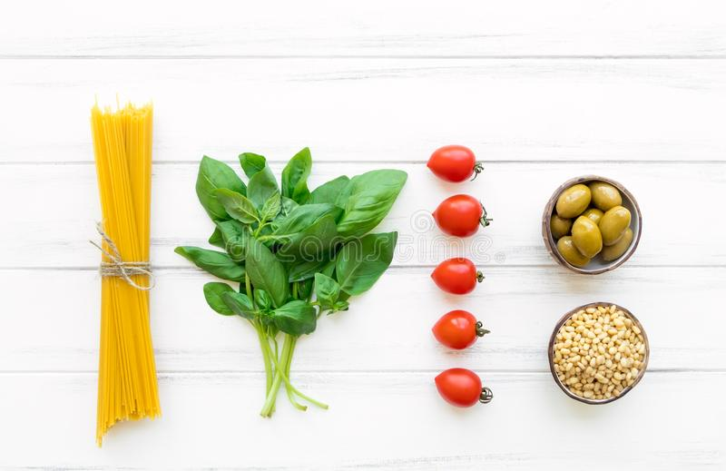 Ingredients for healthy Italian pasta, minimalist background. Flat lay, view from above stock image
