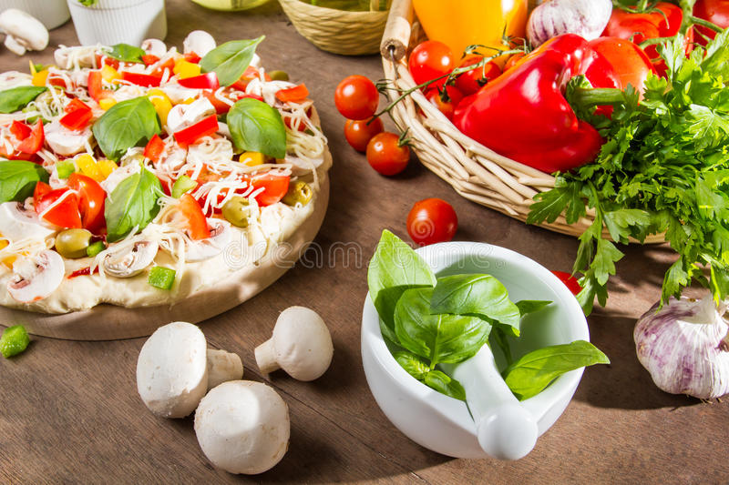 Ingredients for a healthy pizza royalty free stock images