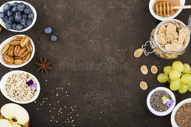 Ingredients for a healthy seasonal autumn breakfast stock photography