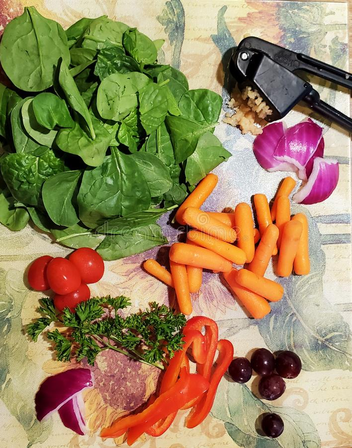 Ingredients for a healthy vegetable soup royalty free stock photos