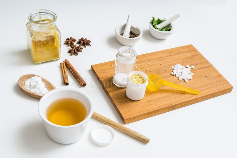 Ingredients for home made cosmetics stock image