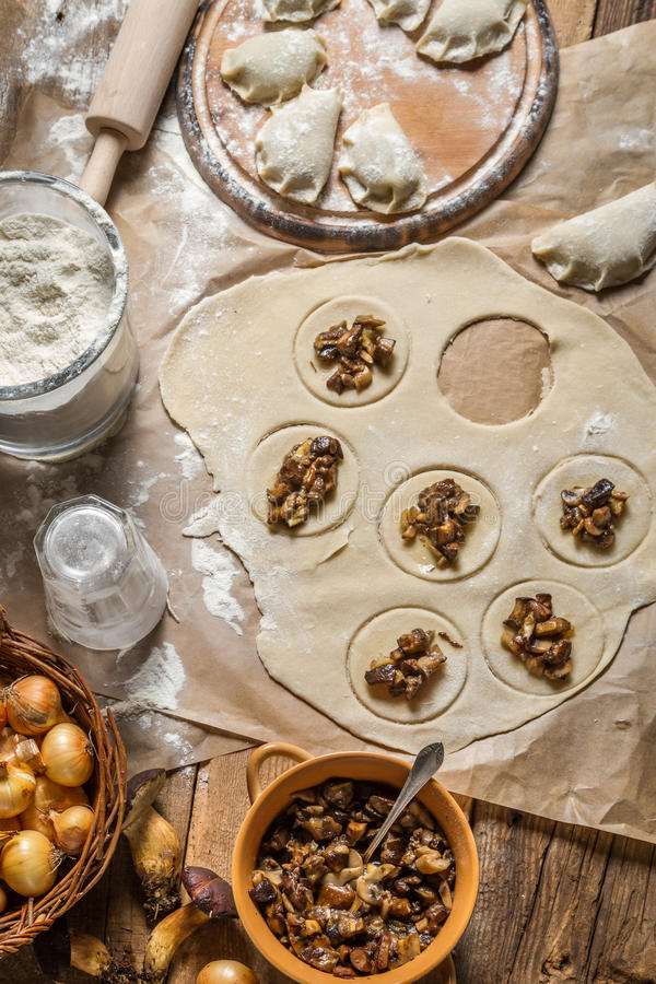 Ingredients for homemade dumplings with mushrooms stock photos