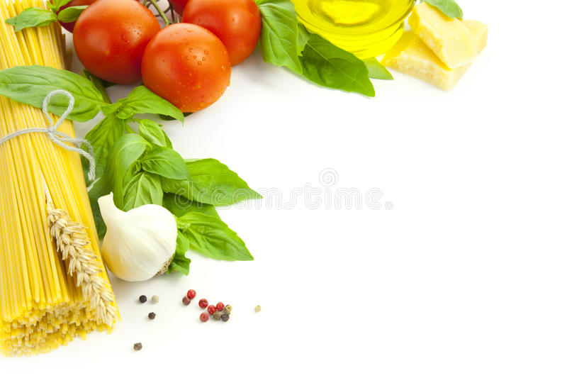 Ingredients for Italian cooking / frame. Composition / isolated on white royalty free stock image