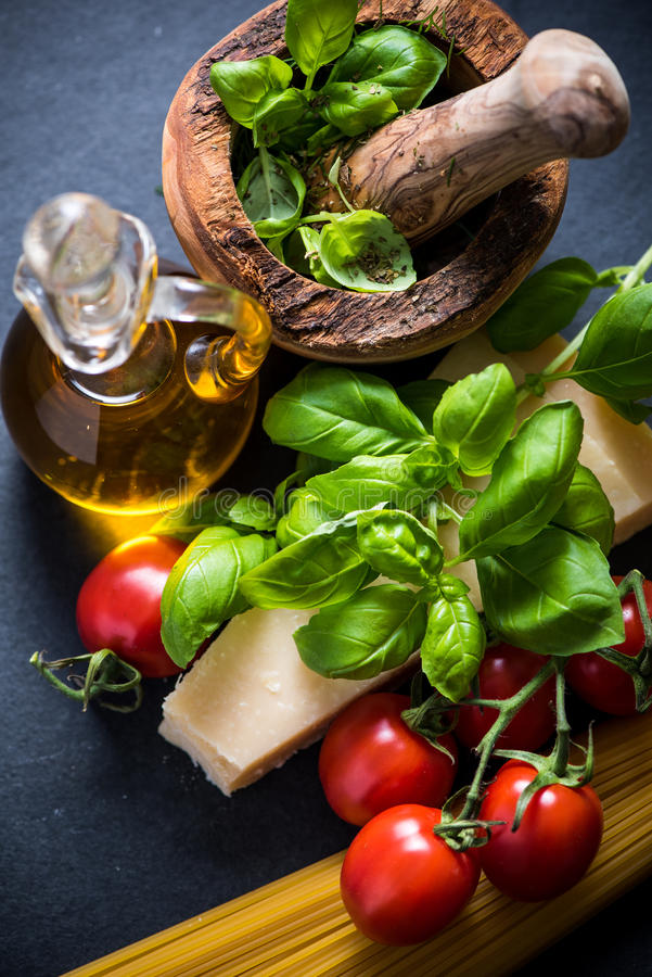 Ingredients for italian spaghetti stock photos