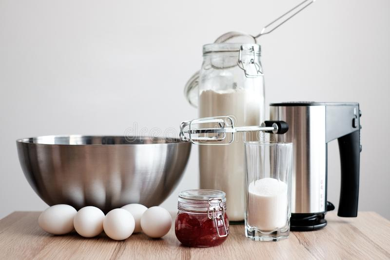 Ingredients for Jam Roll. On a kitchen stock images
