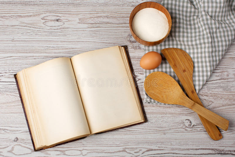 Ingredients and kitchen tools with the old blan royalty free stock photo