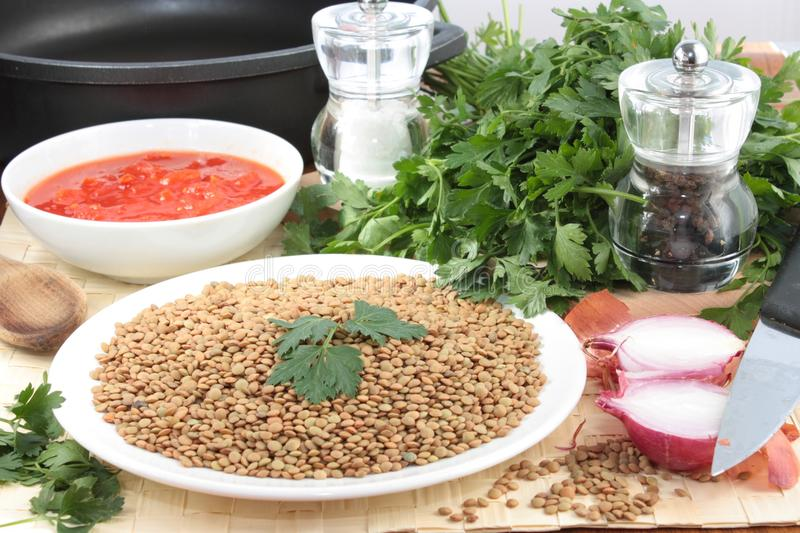 Ingredients for lentil soup stock photos