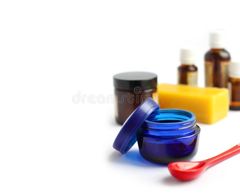 Ingredients for making homemade cosmetics royalty free stock images