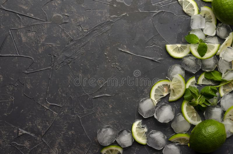 Ingredients for making mojito on grey concrete or stone background. Top view. Ingredients for making mojito on grey concrete or stone background stock photography