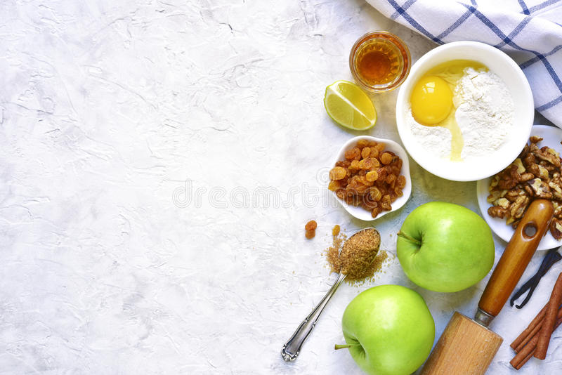 Ingredients for making traditional apple strudel.Space for text. stock image