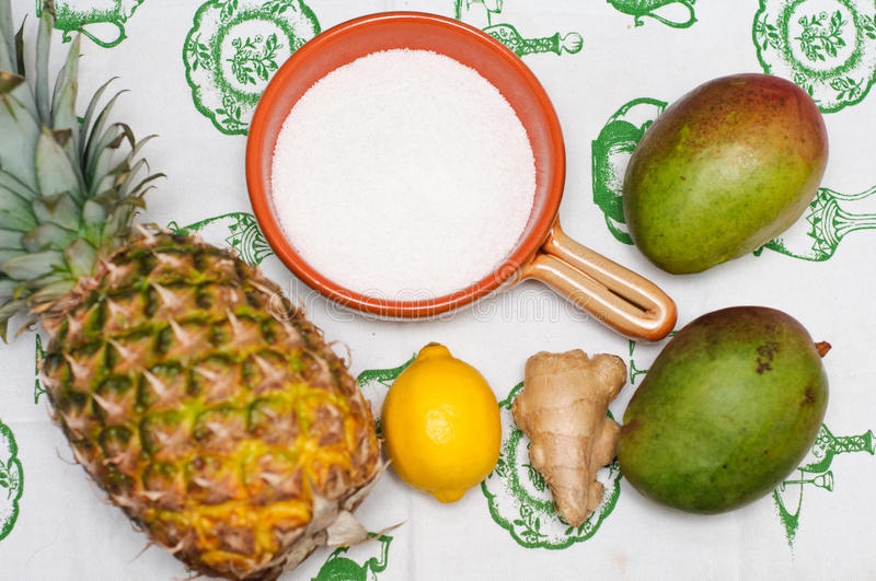 Download Ingredients For Mango And Pineapple Jam Stock Image - Image: 18658281