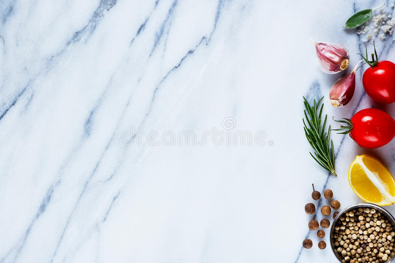 Ingredients on marble texture stock images