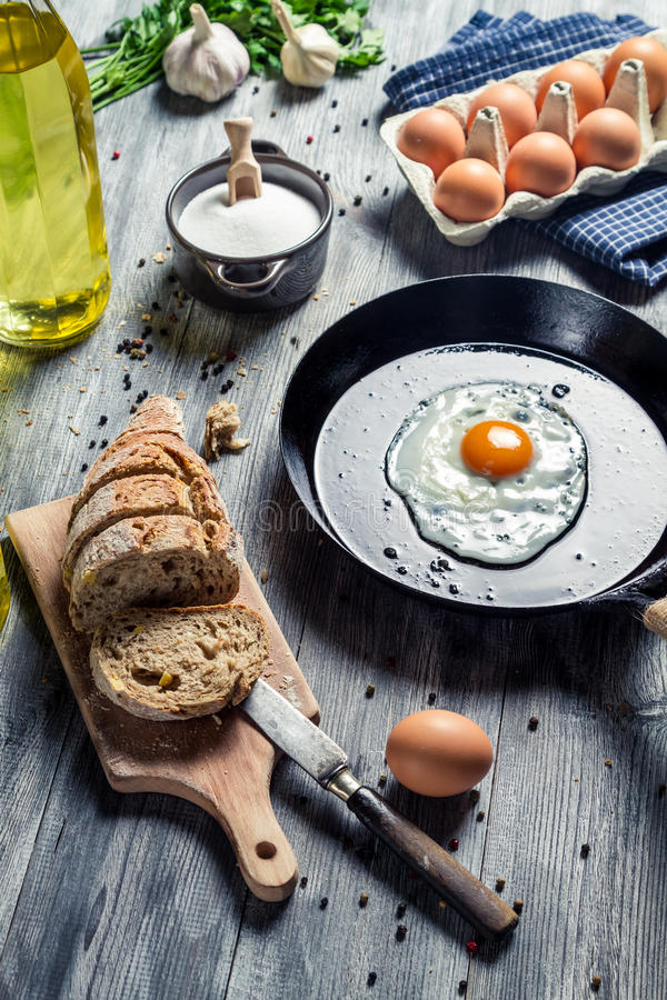 Ingredients for a morning egg stock photos
