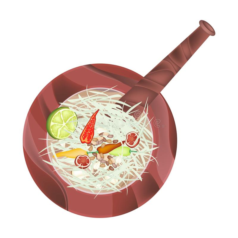 5 Ingredients Papaya Salad Recipe in Wooden Mortar stock illustration