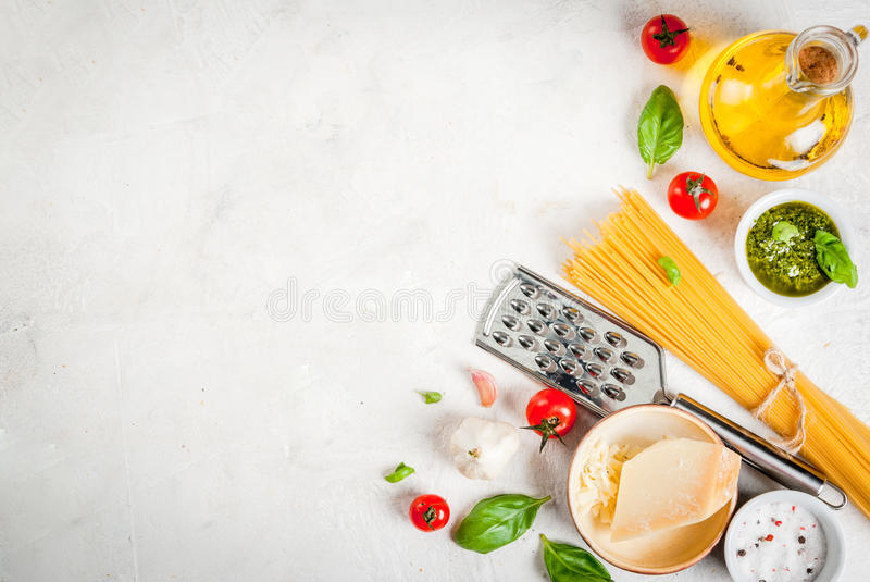 Ingredients for pasta with pesto royalty free stock photography