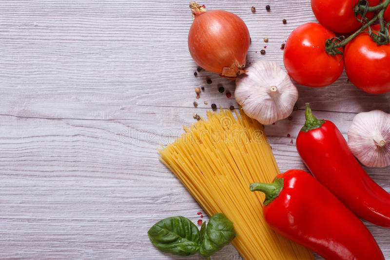 Ingredients for pasta: on the table. top view stock photos