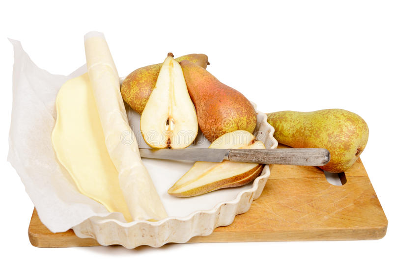 Ingredients pear tart, white background royalty free stock photography