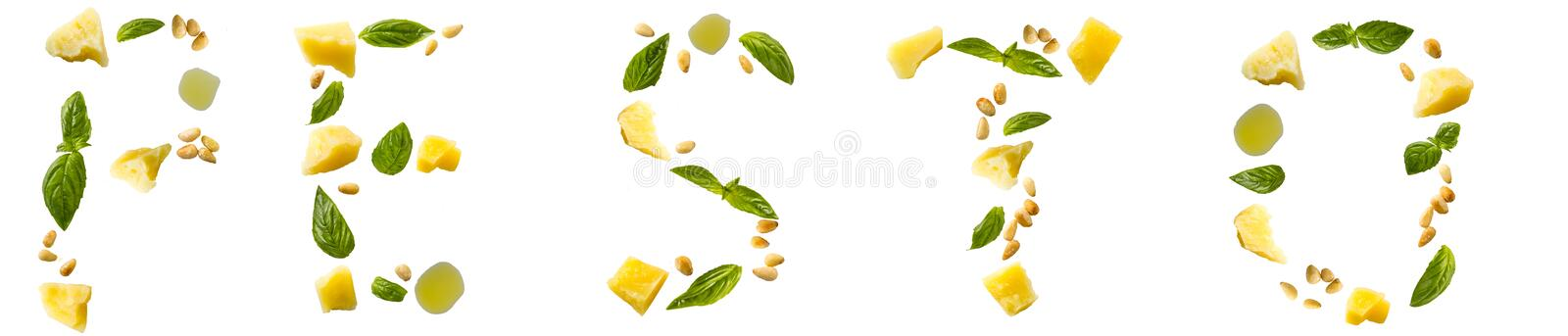 Ingredients for pesto isolated on white background. stock image