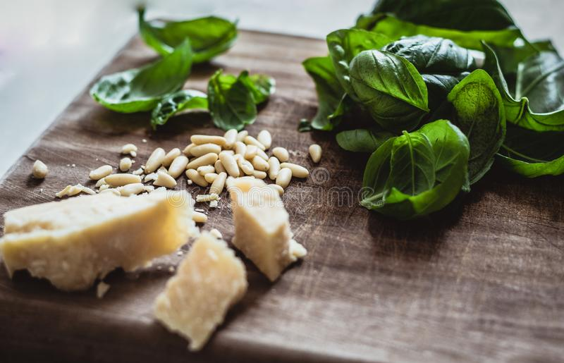 Ingredients for pesto stock images