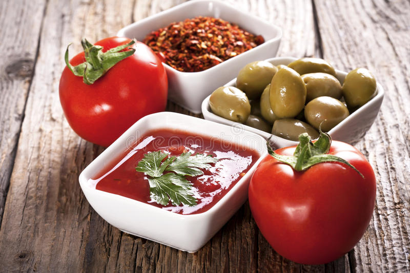 Ingredients for pizza stock image