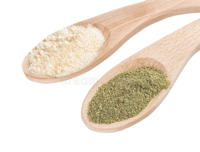 Ingredients for the preparation of Ayurvedic powder ubtan. stock photos